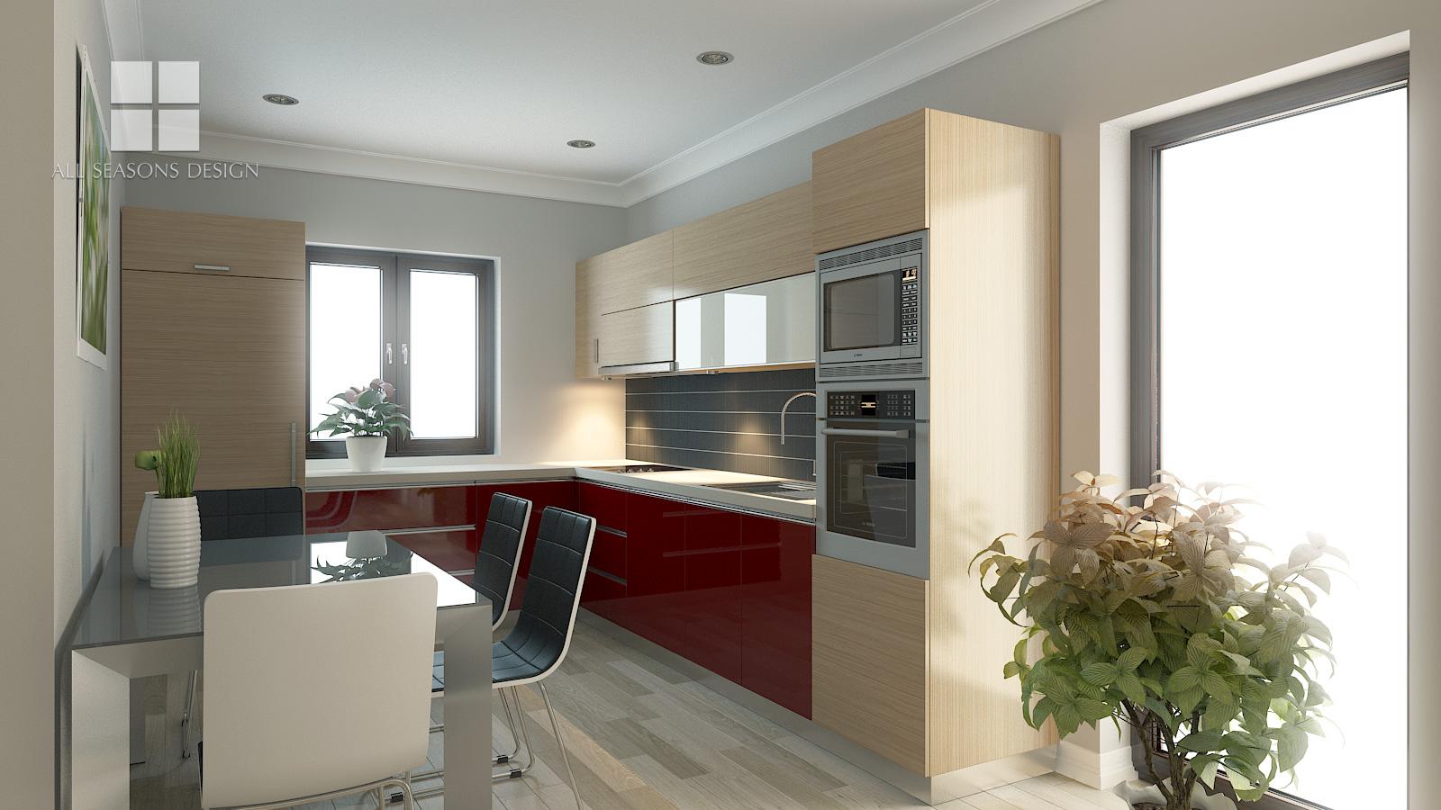 Amenajare bucatarie locuinta domnesti all seasons design for Proiect casa 2 camere living baie si bucatarie